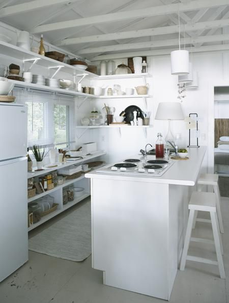 minimalist kitchen ... the open shelving is nice #summercottage