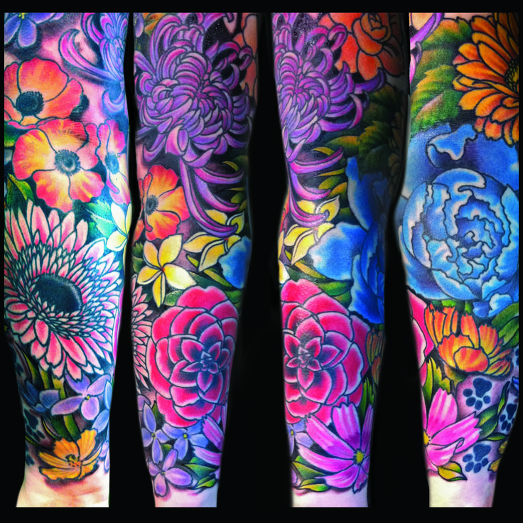 Tattoos | Jessi Lawson – Artist  I love the bright colors on this one, think the black back ground really makes them pop!