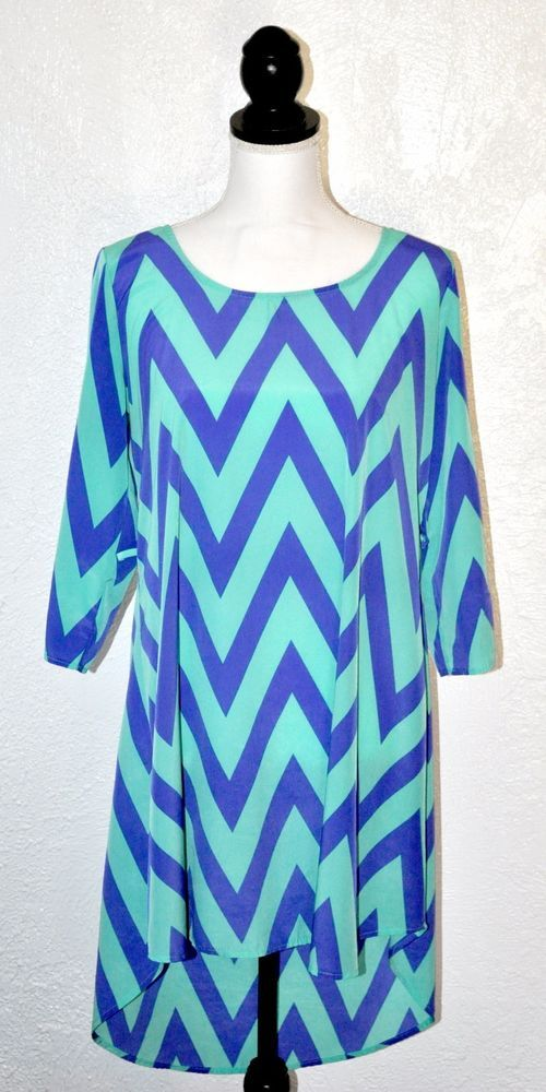 Turquoise Blue Chevron High Low Dress Long Sleeve Tunic Top Womens Sz L #YettsLosAngeles #HighLow #na