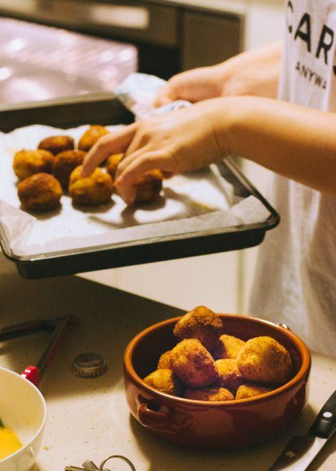 Potato, cheese and chorizo croquettes