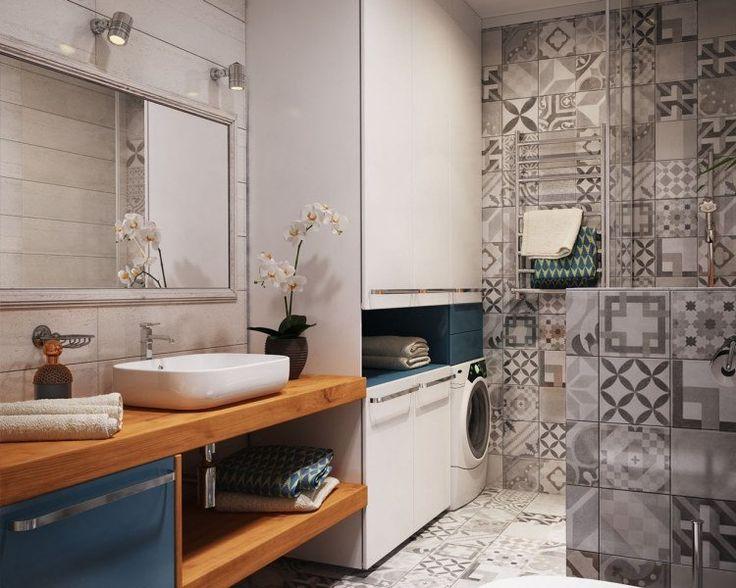 salle de bains grise avec carreaux de ciment et plan vasque en bois