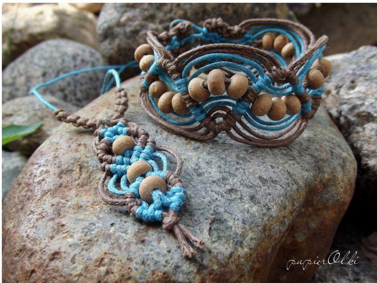 macrame,  bracelet and necklace, makramowa bransoletka i wisiorek