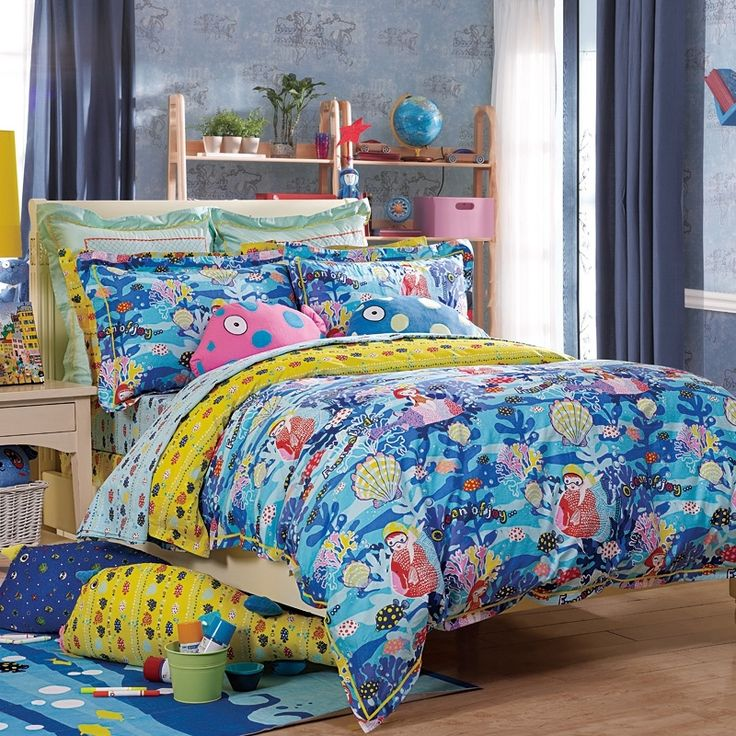 ice blue yellow and red undersea world coral and seashell print cartoon hawaiian style girls boys cotton twin full size bedding sets