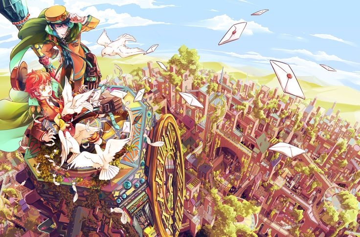 迷路の街の郵便屋さん by コナ(Na) 人力でしか郵便配達できない街。赤い髪の子は女の子です。 #art #illustration #manga…