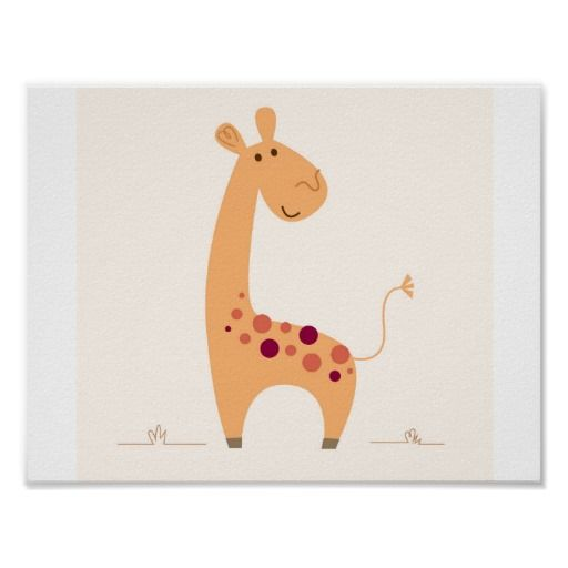 Cute yellow Giraffe poster