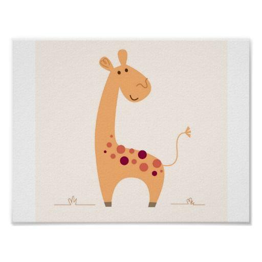 Cute yellow Giraffe poster