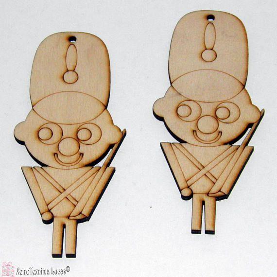 2 Pcs Wood Laser Cut Lead Soldier 10 cm Natural Unfinished Wooden Craft DIY