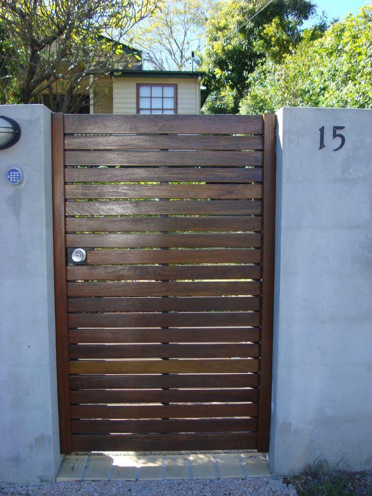 Brown, wooden Pedestrian Gate  Brisbane Automatic Gate Systems
