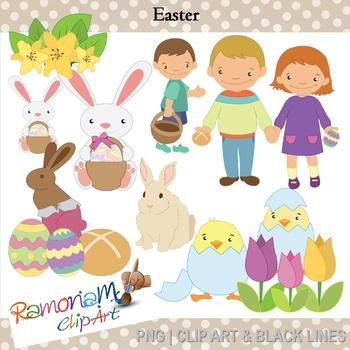 Easter eggs, bunnies and egg hunts clip art in PNG format and 300dpi, 13 images in Black and white, colored with colored outline and colored with black outlines.