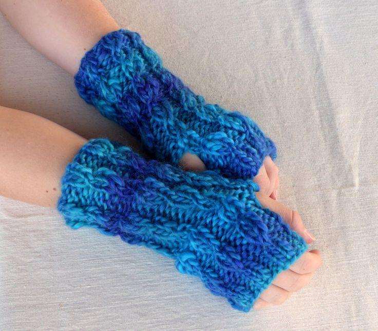 Hand Knit Fingerless gloves - Hand Knitted blue fingerless glove mittens - wool gloves by SallyAnnaBoutique on Etsy