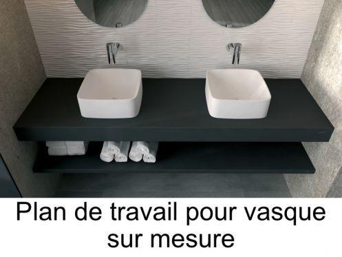 Plan de travail sur mesure en résine pour vasque de salle de bain à poser, Capri / Pompeya effet pierre