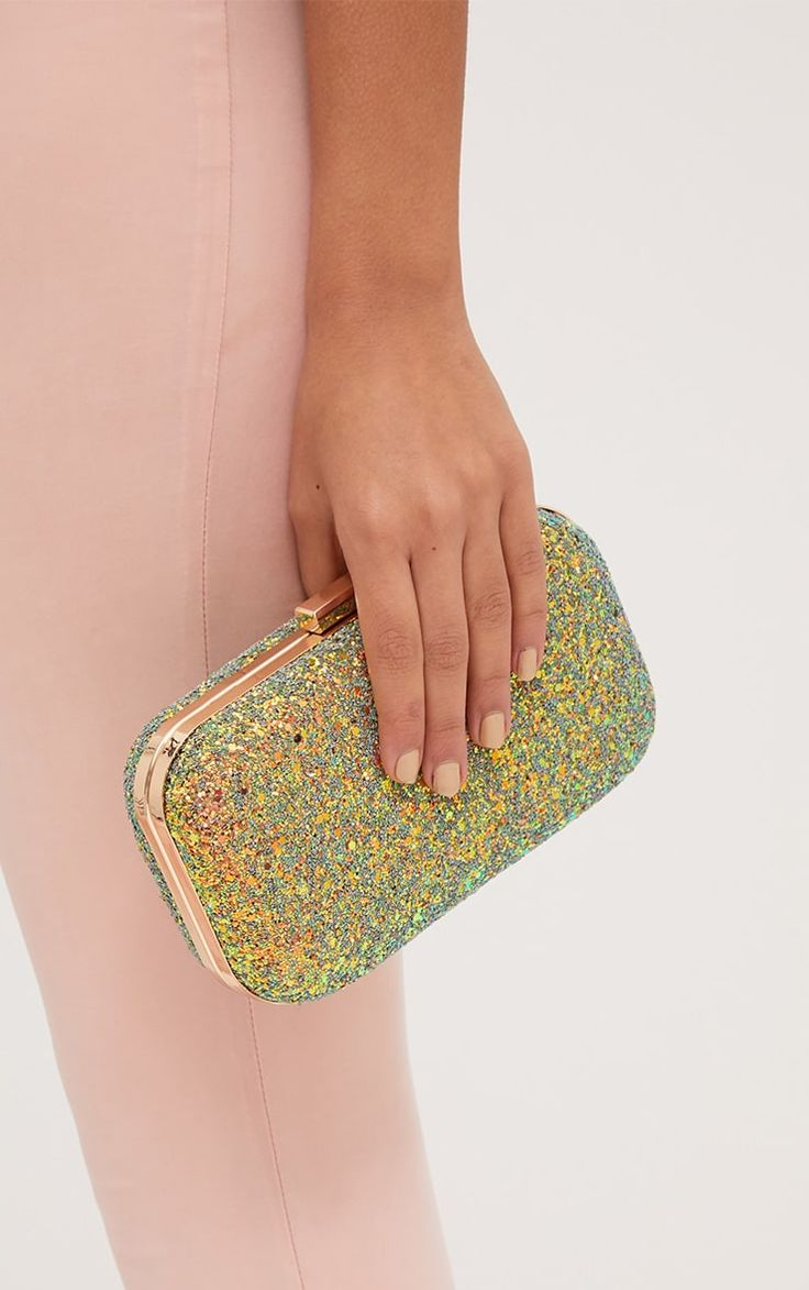 Multi Glitter Metallic Clutch Bag