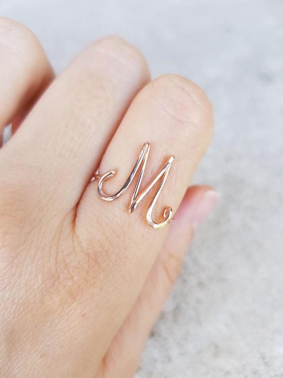 ce2df55891 Initial Letter M Ring M 22k Rose Gold Initial Ring Rose Gold M ~ Mark it  with a B for Bethany and me