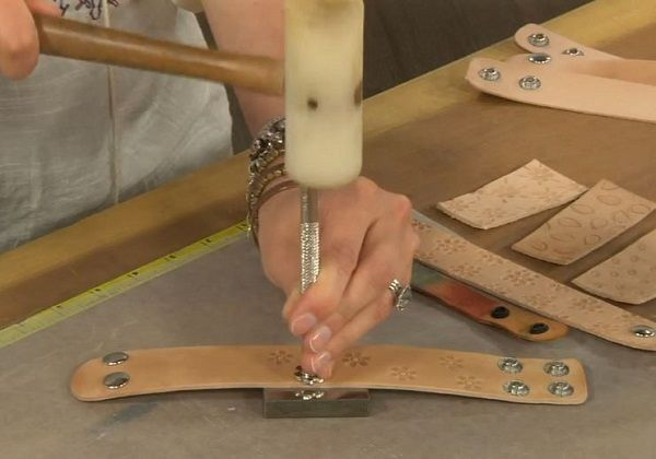 how to stamp leather and add texture to leather cuffs - from Leather Jewelry Making: 6 Tips for Personalizing and Embellishing Leather Cuffs with Candie Cooper - Jewelry Making Daily