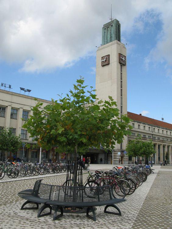 Functionalistic building of the station in Hradec Králové (East Bohemia), Czechia