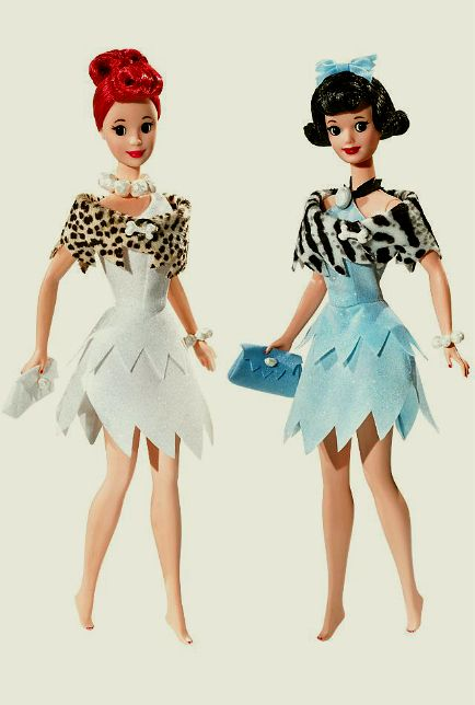 """Wilma Flintstone and Betty Rubble from the animated TV show """"The Flintstones""""."""