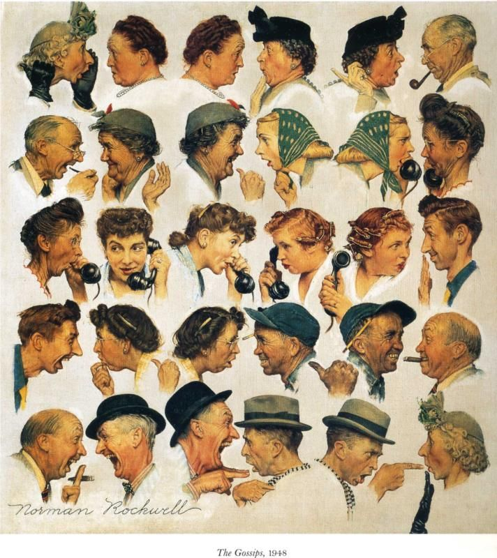 """The Gossips"" 3/6/1948 aka. ""Chain of Gossips"" by Norman Rockwell for The Saturday Evening Post, cover (info verified)"