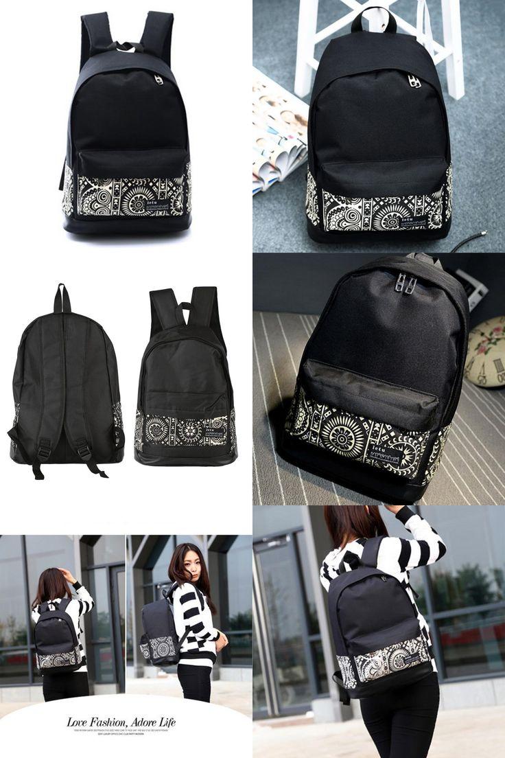 [Visit to Buy] Women Men Canvas Geometric Flower Casual Travel Backpack School Bag Rucksack Schoolbags For girl Boy Teenagers 2016 Hot Sale #Advertisement