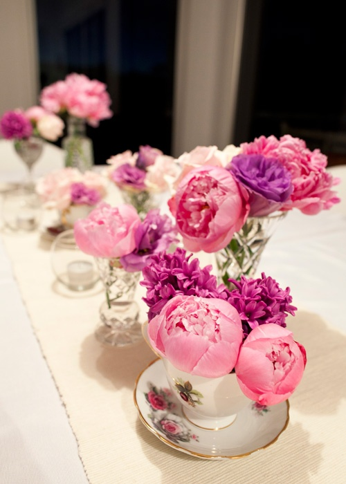 32 best flowers images on pinterest wedding bouquets bridal eclectic mix of antique crystal vases and tea cups with pink spring florals in a mightylinksfo