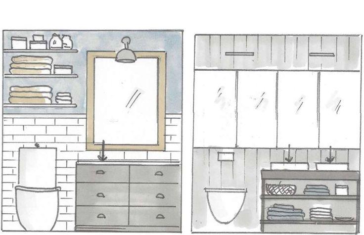 Forslag til ulike løsninger for små bad