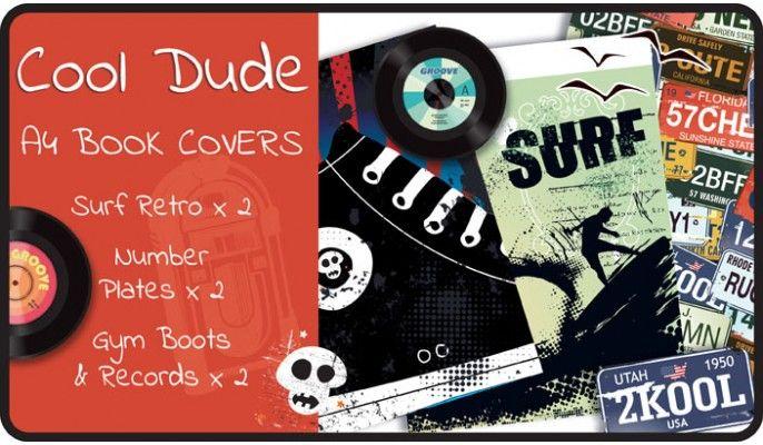 Kool Dude Slip-On A4 School Book Covers - 6 pack