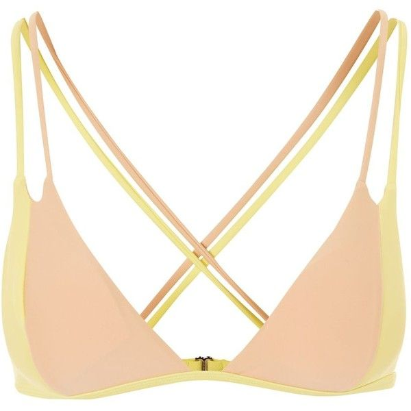 TopShop Colourblock Triangle Bikini Top ($35) ❤ liked on Polyvore featuring swimwear, bikinis, bikini tops, yellow, triangle bikini top, triangle bikinis, triangle swim top, swim tops and swim suit tops