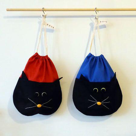 ナナマキさんのネコきんちゃく   faboomaestore おおまえ布店のオンラインストア