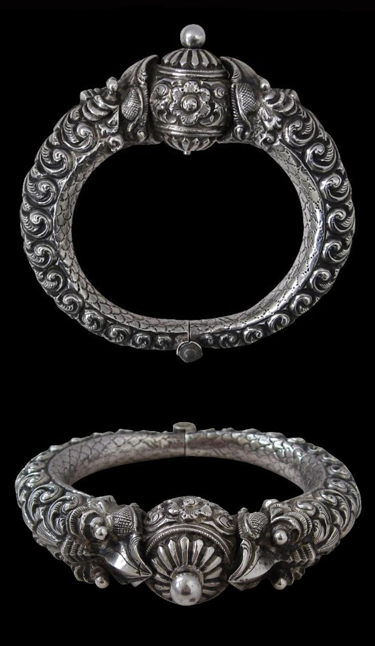 India | Silver Makara bracelet from Madras | 19th century |