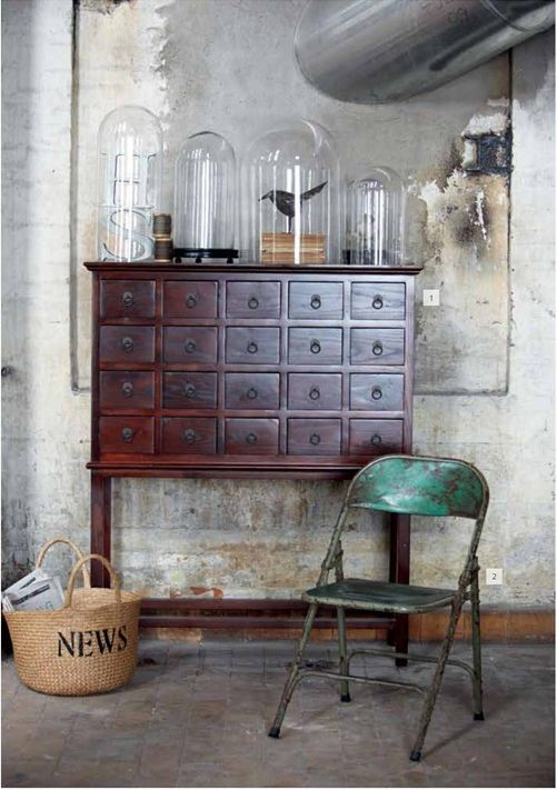 Belle Jars, Glass Domes, Chairs, Interiors, House Doctors, Glasses Dome, Industrial Style, Drawers, Apothecaries Cabinets