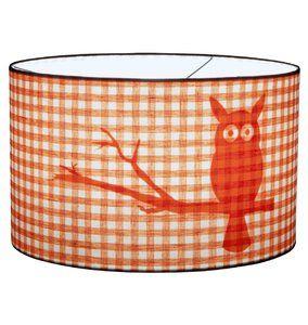 Uiltjes Lamp Little Dutch met Silhouet. Deze Kinderlamp is Oranje met Ruitjes en Uil. - Dreumes enZo Kinderwinkel