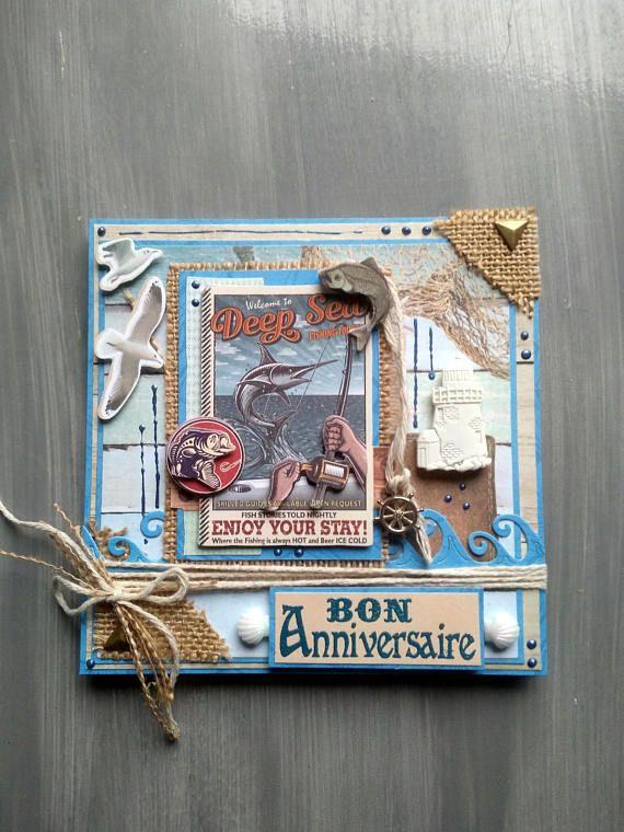 Carte Anniversaire Homme Fait Main 3d Theme Pecheur Peche Etsy Carte Anniversaire Homme Carte Anniversaire Carte