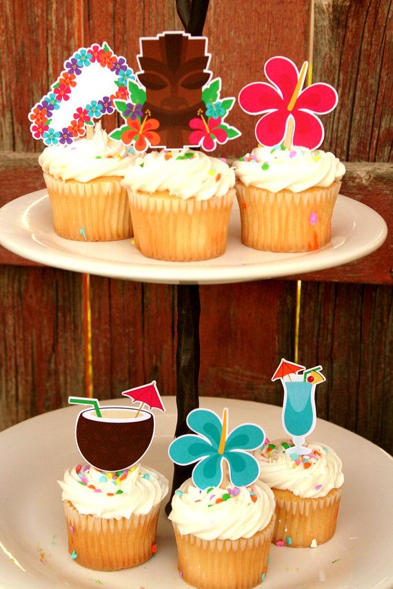 Luau Party Cupcake Toppers Set of 12