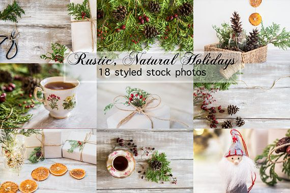*** Natural & Rustic Holiday Stock Photo Bundle *** This set of 18 photos is inspired by a blend of Nordic aesthetic and Victorian Christmas. Greenery and botanicals are all natural ; real cedar, ponderosa pinecones and dehydrated rosehips. Beautiful decor from nature! Also featuring hot