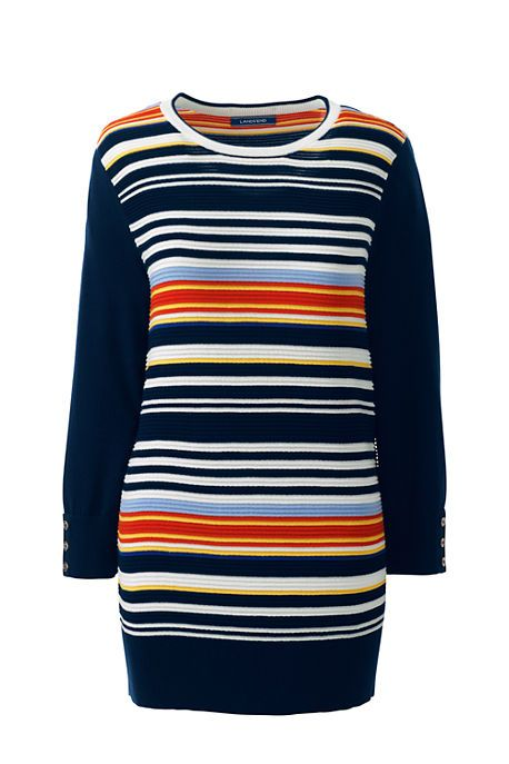 Women's Supima Cotton Stripe Sweater | Nautical stripes get a pop of prep with multicolor stripes in this spring sweater style.