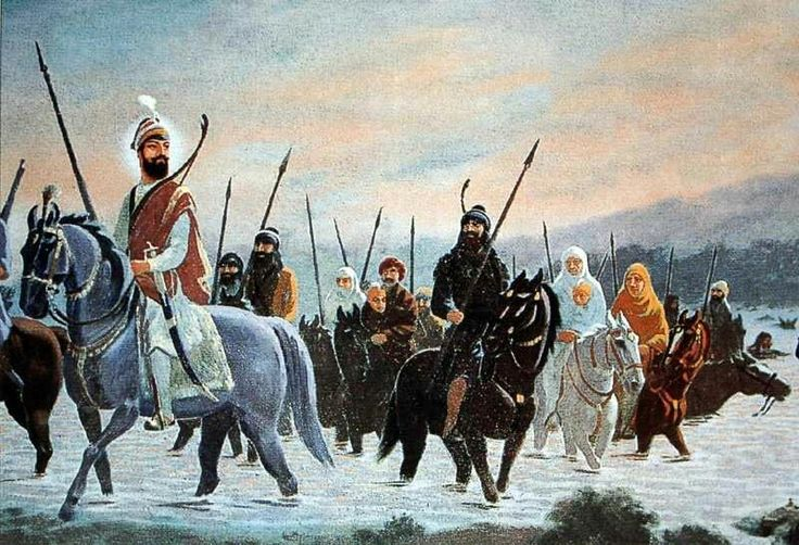 Guru Gobind Singh Ji - Bank of river sarsa- family separation   Sikhpoint.com