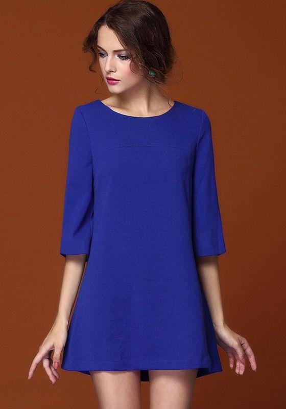 Dark Blue Plain 3/4 Sleeve Casual Mini Dress - Dresses