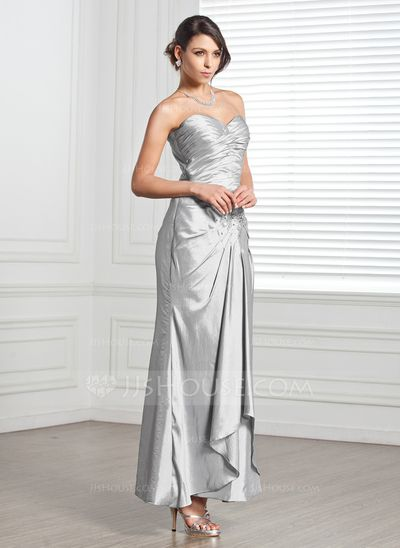 Sheath/Column Sweetheart Ankle-Length Taffeta Evening Dress With Ruffle Beading (017005318)