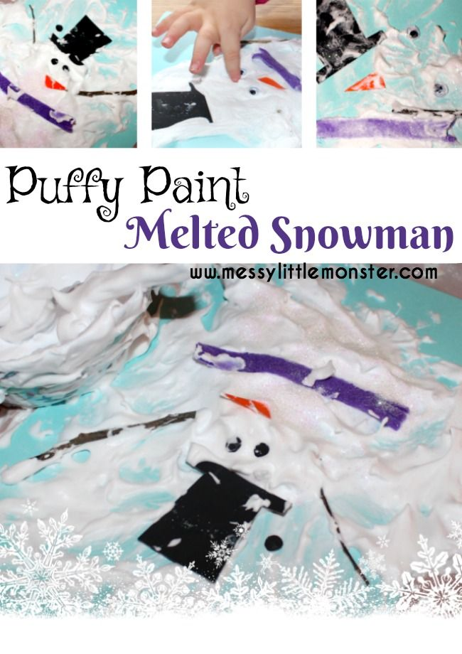 Puffy paint melted snowman craft for kids using a 2 ingredient puffy paint recipe. A simple Winter art activity for toddlers and preschoolers as well as older kids.