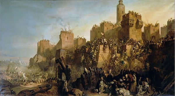 The capture of Jerusalem by Jacques de Molay in 1299, by Claudius Jacquand, Versailles, Musee National Chateau et Trianons. This depiction was commissioned in the 1800s, but is about an event in 1299 that did not actually occur. There was no battle, and Molay was nowhere near Jerusalem at the time. In reality, after the Christians lost control of Jerusalem in 1244, it was not under Christian control again until 1917, when the British took it from the Ottomans.