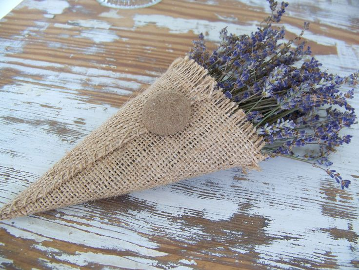 Burlap Cornucopia with dried Lavender from my garden ~