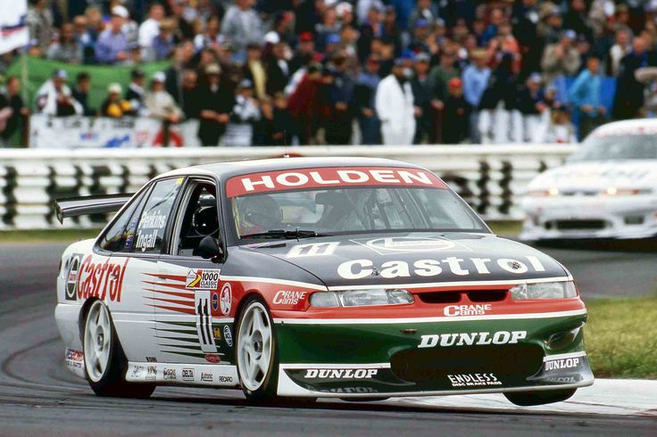 The Holden of Larry Perkins and Russell Ingall on the way to victory in the 1997 running of the Bathurst 1000.