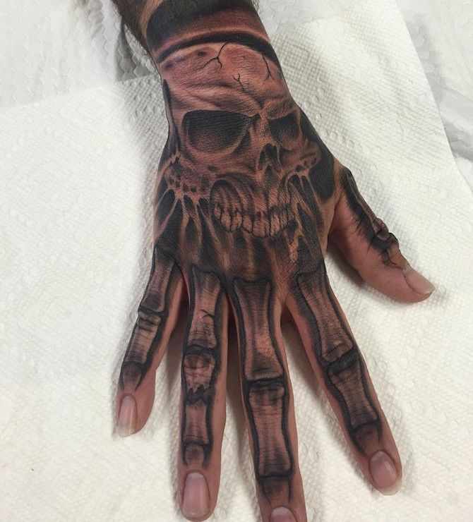 Skull Bone Hand Tattoo skull hand tattoos designs ideas and meaning ...