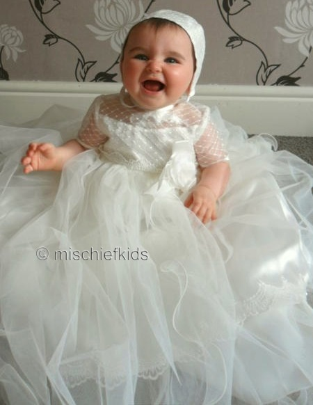 Sarah Louise 119 Ivory Tulle Christening Gown (also in white)