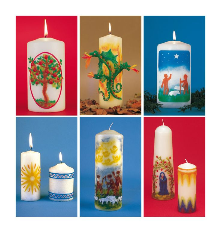 Beautiful Christmas candles from Thomas Berger's 'The Christmas Craft Book'. Includes projects for all ages, perfect for parents and children to create decorations together.