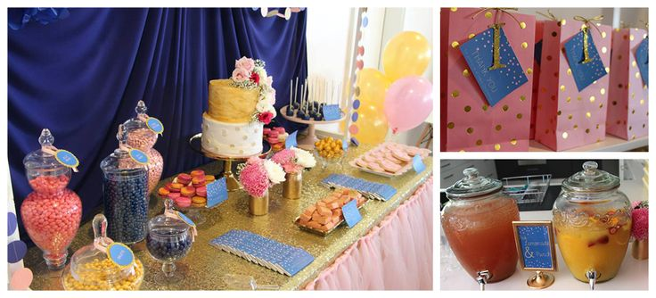 Gold, Pink & Navy Christening Set Up
