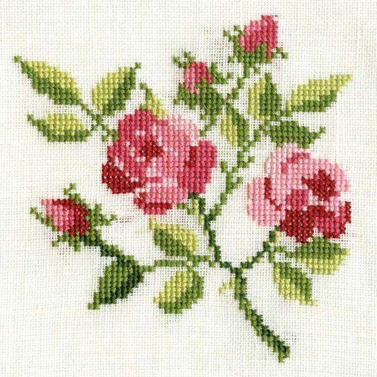 Poster Roosjes borduurwerk - Gevonden geluk! - De Oude Speelkamer