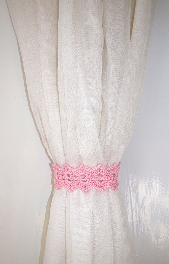 Pink curtain holdback Crochet curtain tie by CrochetedCosiness