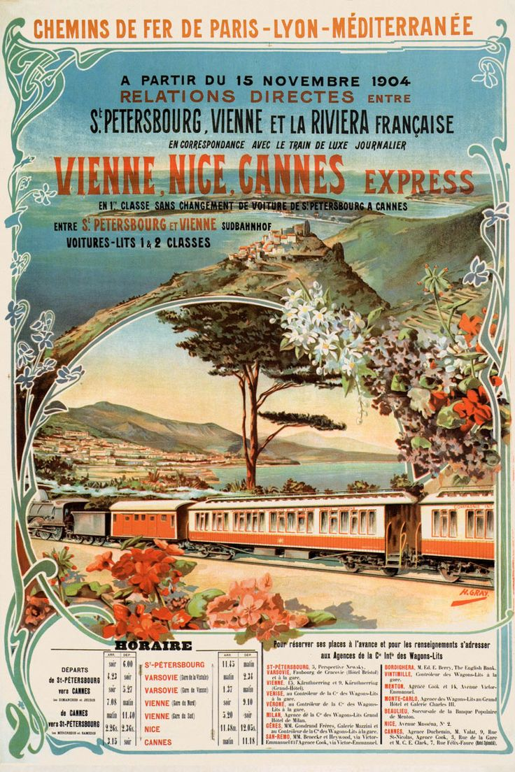 Affiche Vienne-Nice-Cannes Express, PLM 1904 | Henri Gray (Galleria L'Image)