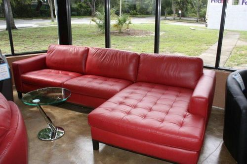 Natuzzi Italy Red Leather Sectional Leather Sofas