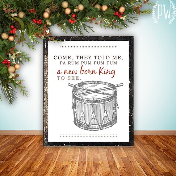 Freebie from Printable Wisdom - The Little Drummer Boy printable wall art PDF!